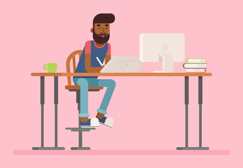 Hipster Designer and His Creative Workspace