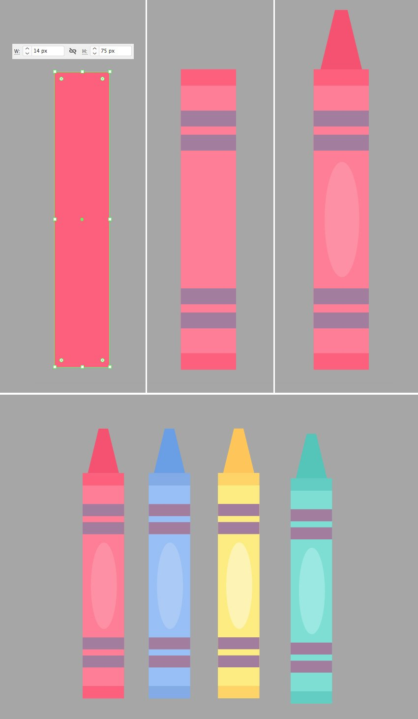 make a crayon from rectangles