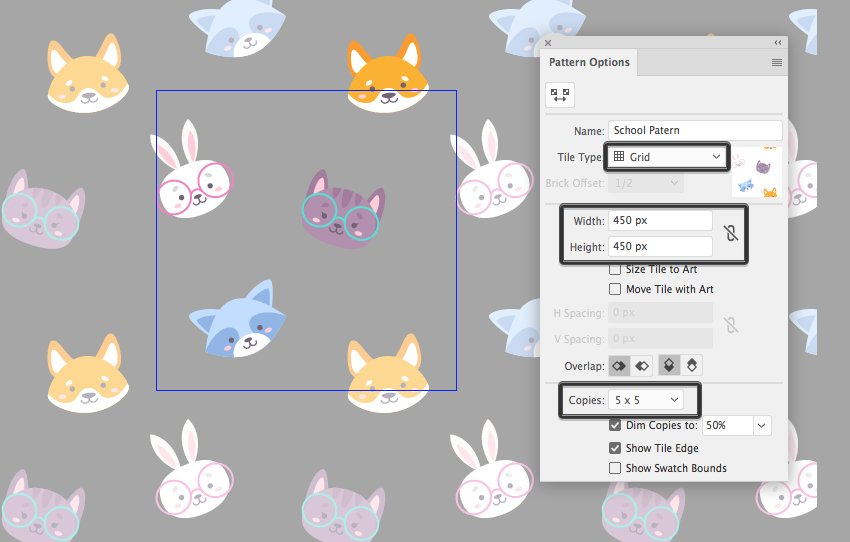 make a pattern with pattern tool 1