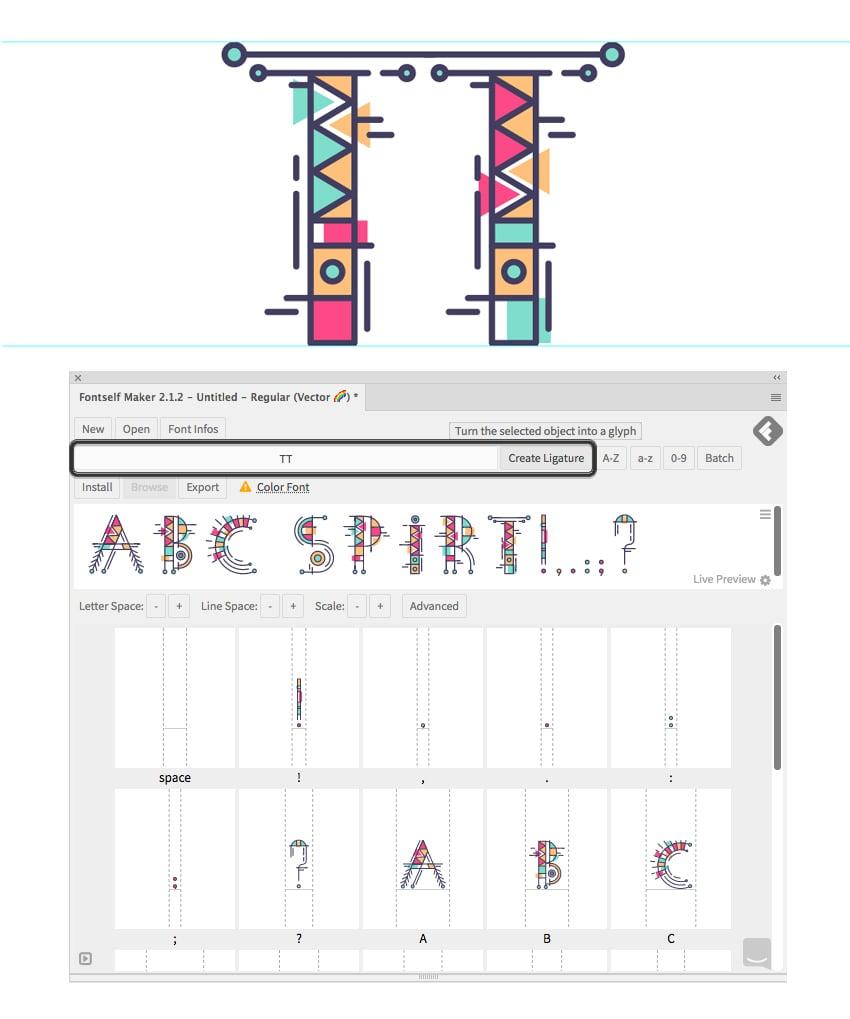 add ligatures in fontself