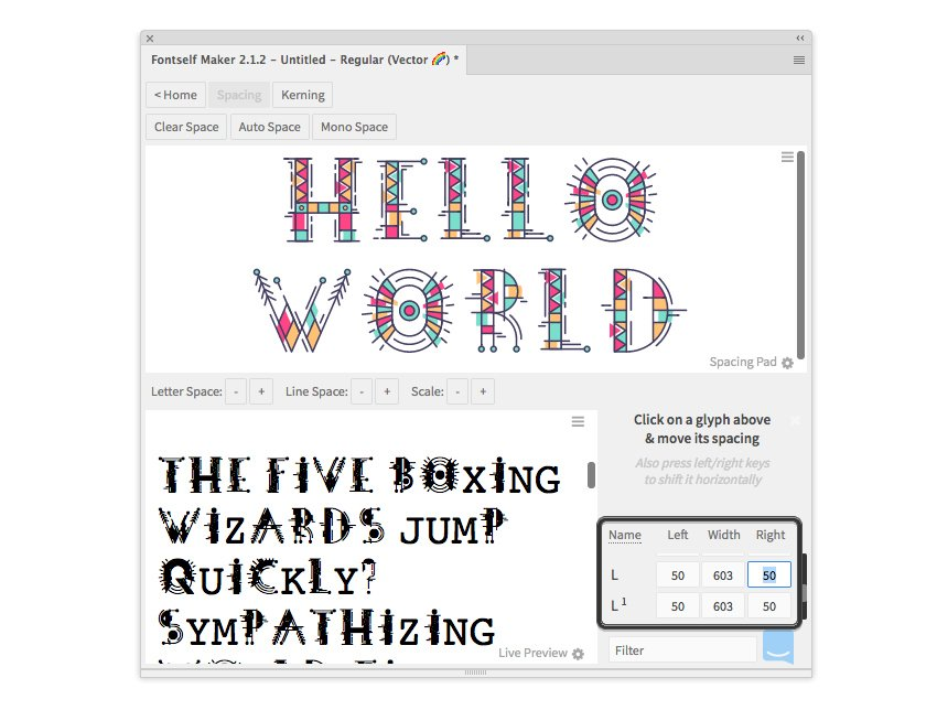adjust spacing in fontself