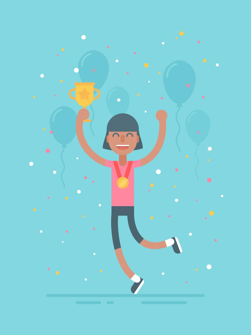 Celebration Sporty Character Illustration
