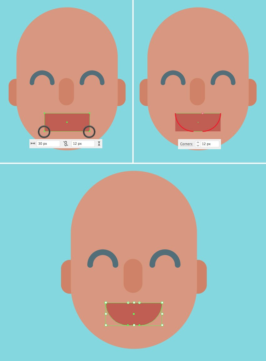 make a mouth from the rectangle