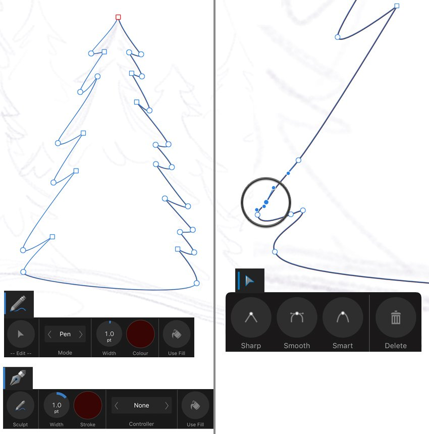 draw a tree with pencil tool