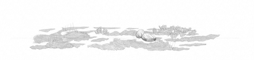 how to shade rocks with softer pencil