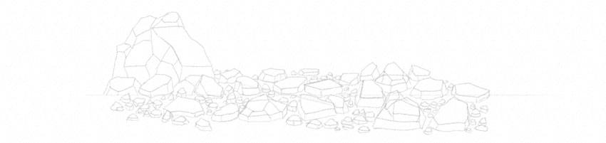 how to draw rock debris