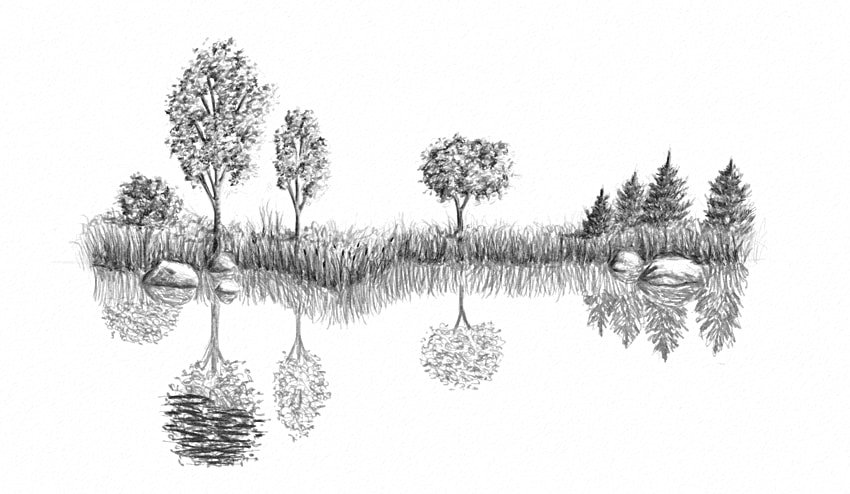 how to draw little waves on a lake