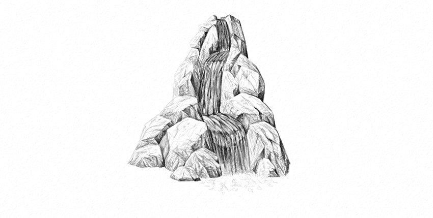 how to draw waterfall foam
