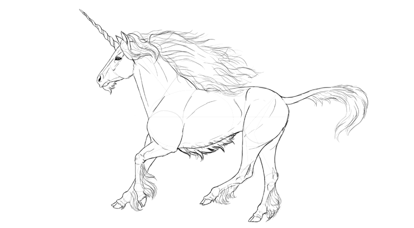 how to draw a unicorn with pencil