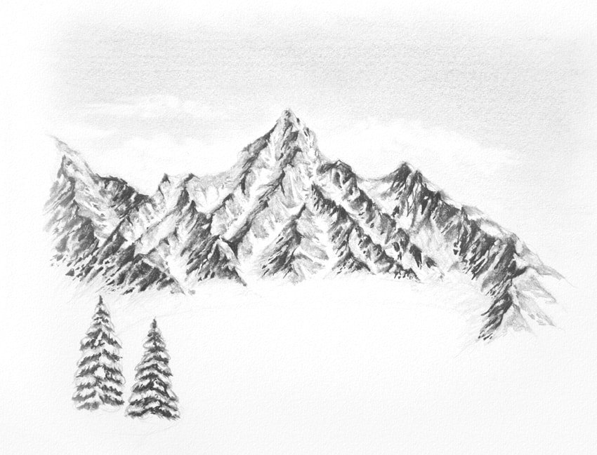 how to draw snowy evergreens