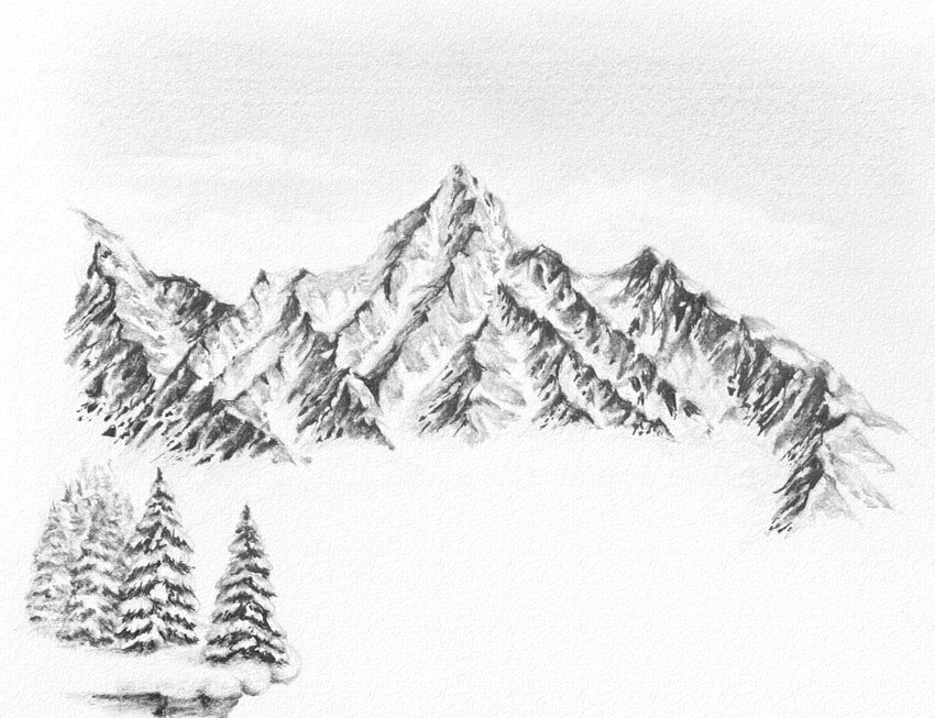 how to draw trees with aerial perspective