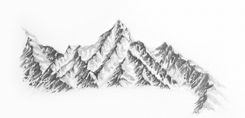 how to draw rocks on the mountains