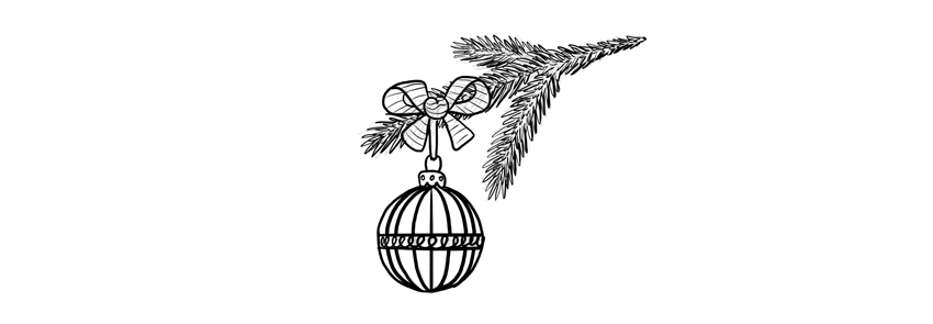 how to draw christmas decoration with bow and ball