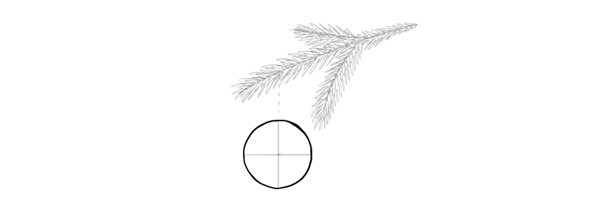 how to draw a base for a christmas ball