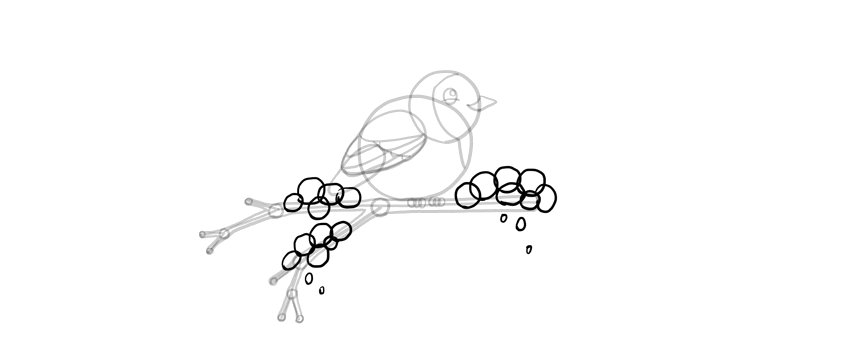 how to draw snow on a branch