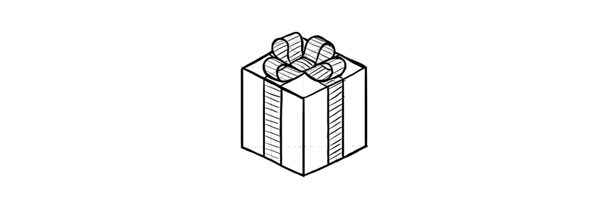 how to draw a cute wrapped present with a bow