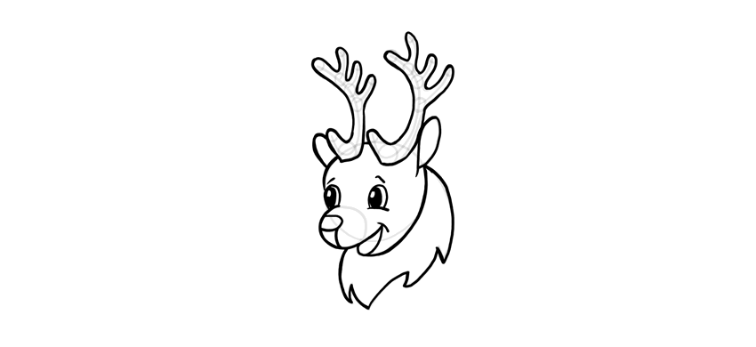 how to draw a cute rudolf reindeer