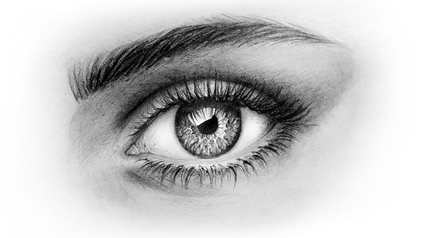 how to draw realistic skin around the eye