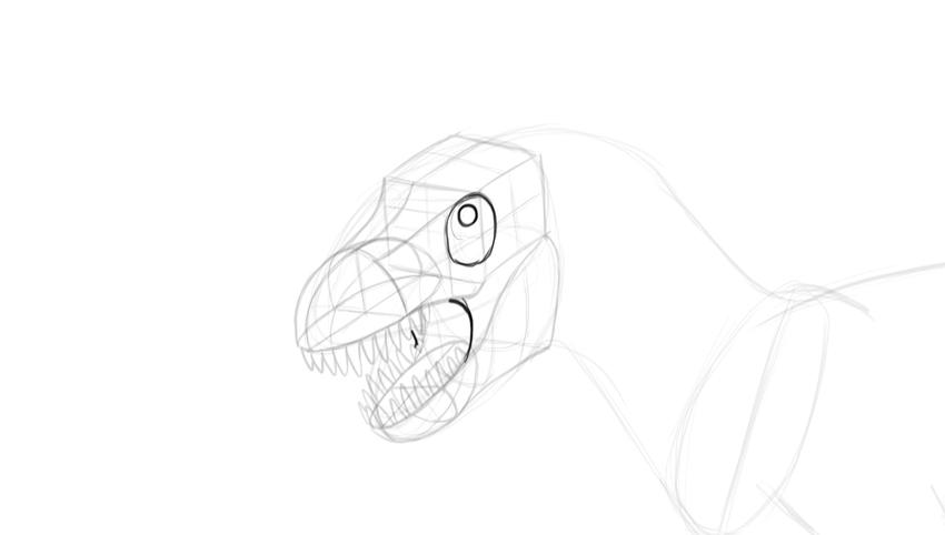 how to draw trex eye