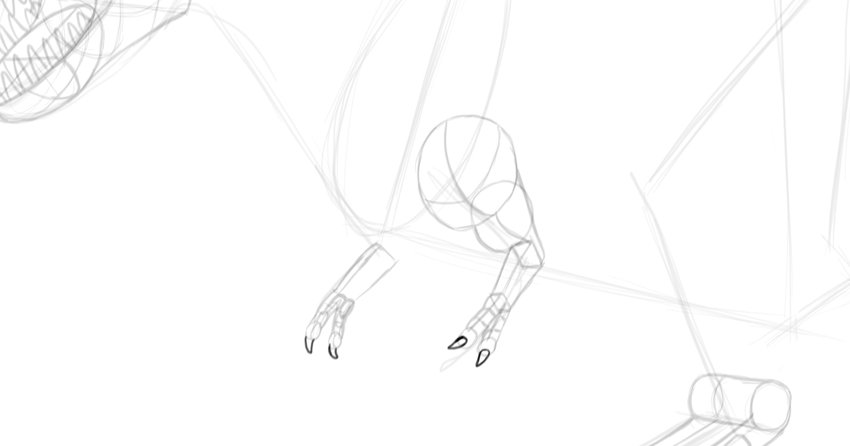 how to draw t rex hand claws