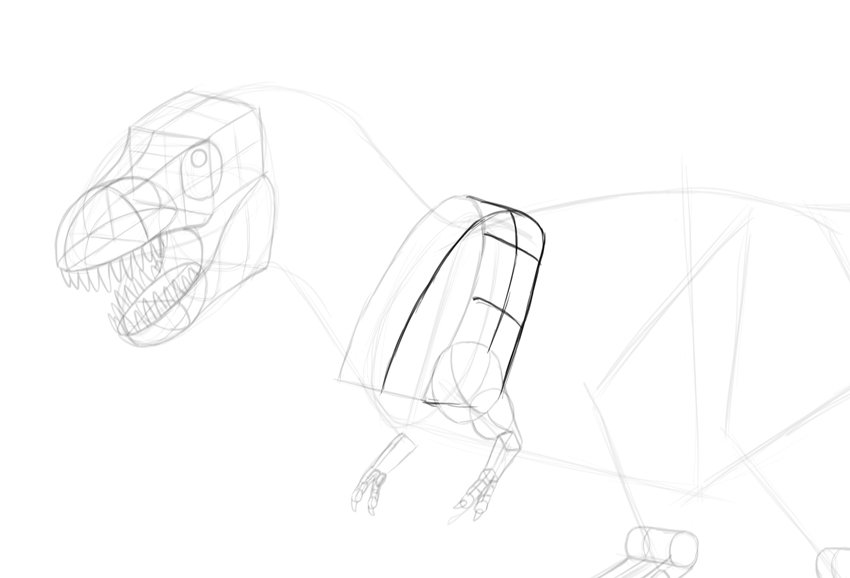 how to draw trex shoulders