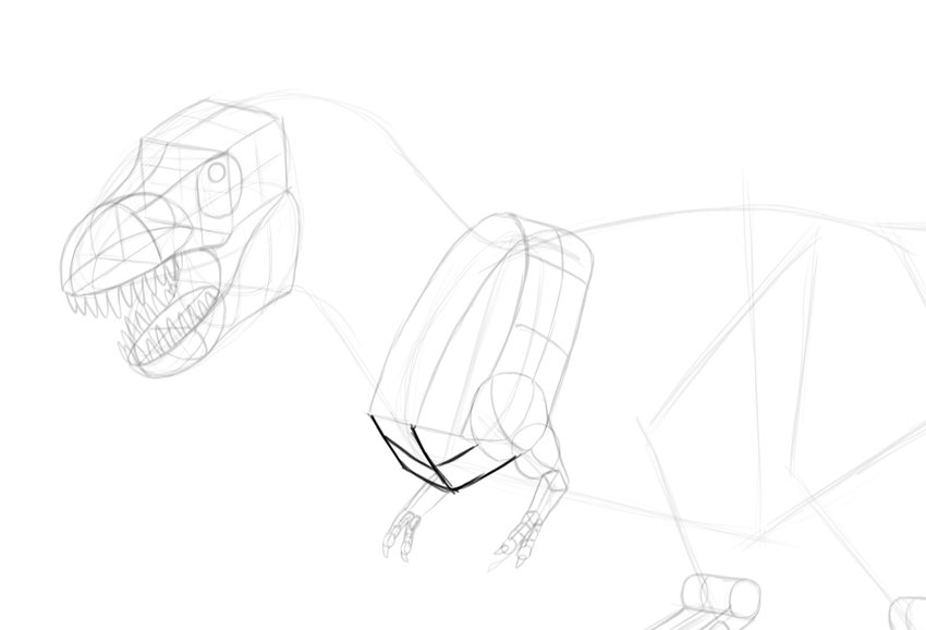how to draw trex chest
