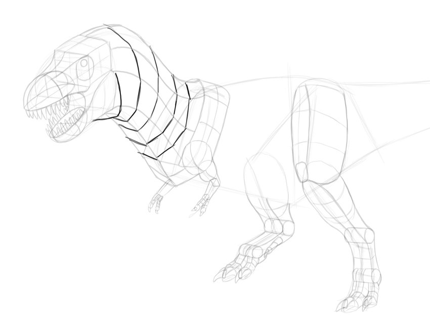 how to draw trex neck in 3d