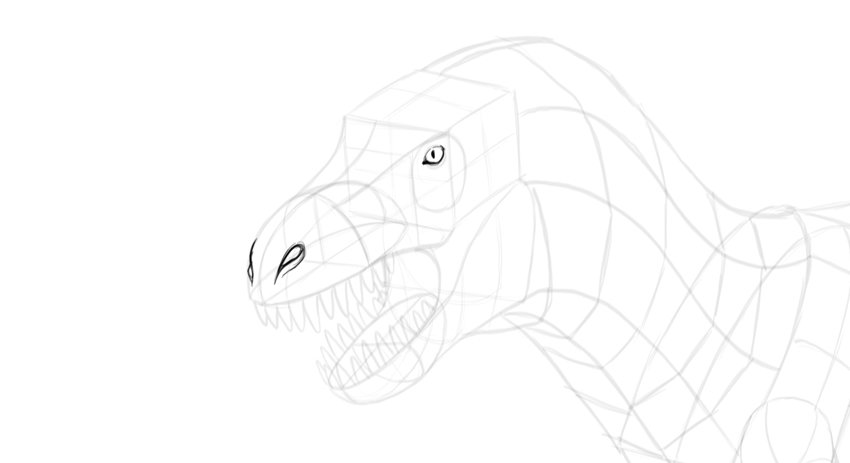 how to draw trex face
