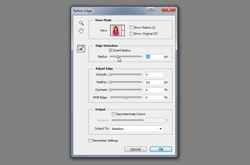 refine edge smart radius how to change