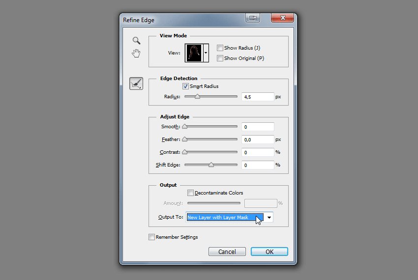how to create selection from refine edge