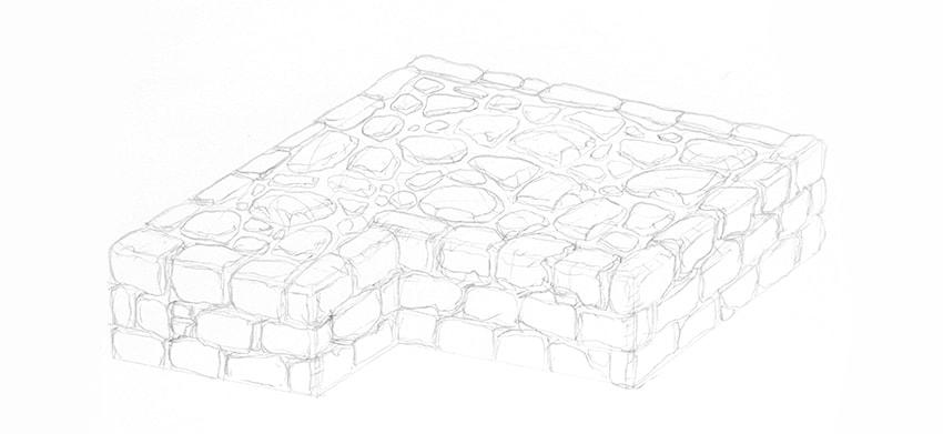 stone wall sketch