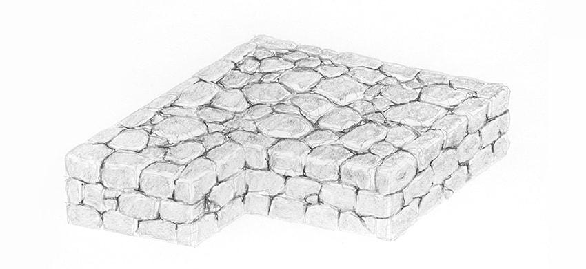 stone wall side shading