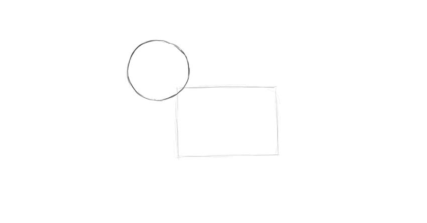rectangle and circular head