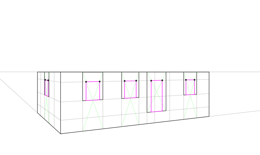 how to place windows regularly in perspective