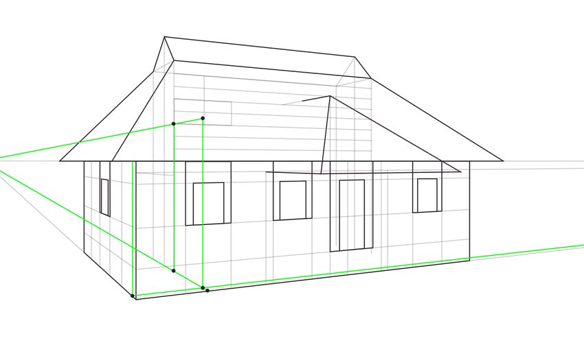 how to draw roof in perspective