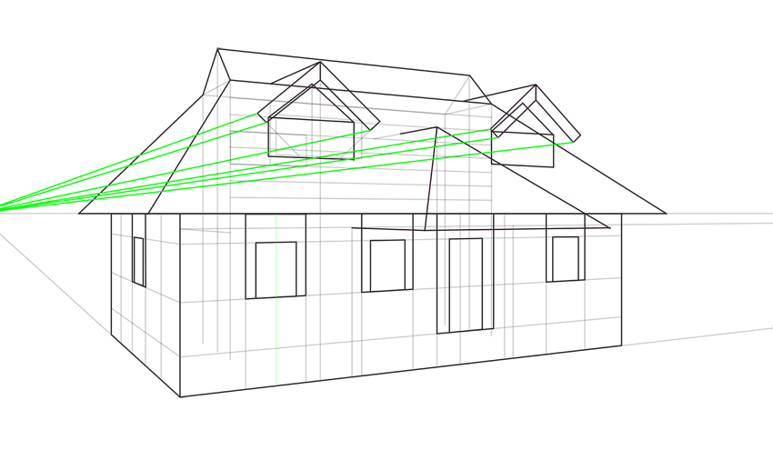 complciated roof in perspective