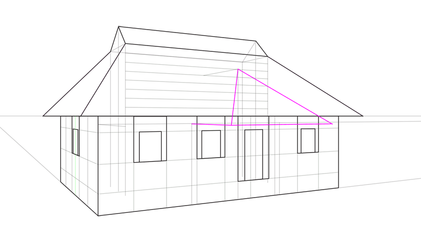 porhc roof outline in perspective