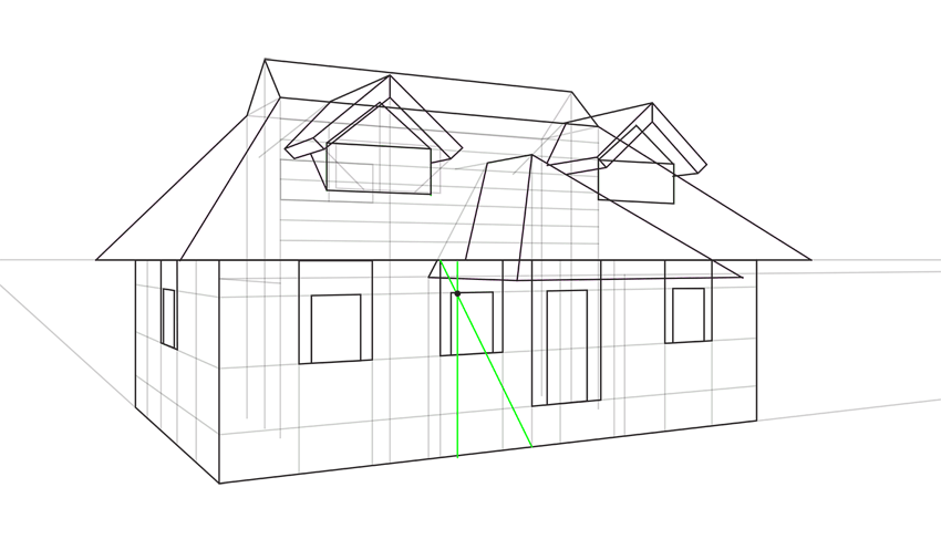 symmetrical porch in perspective