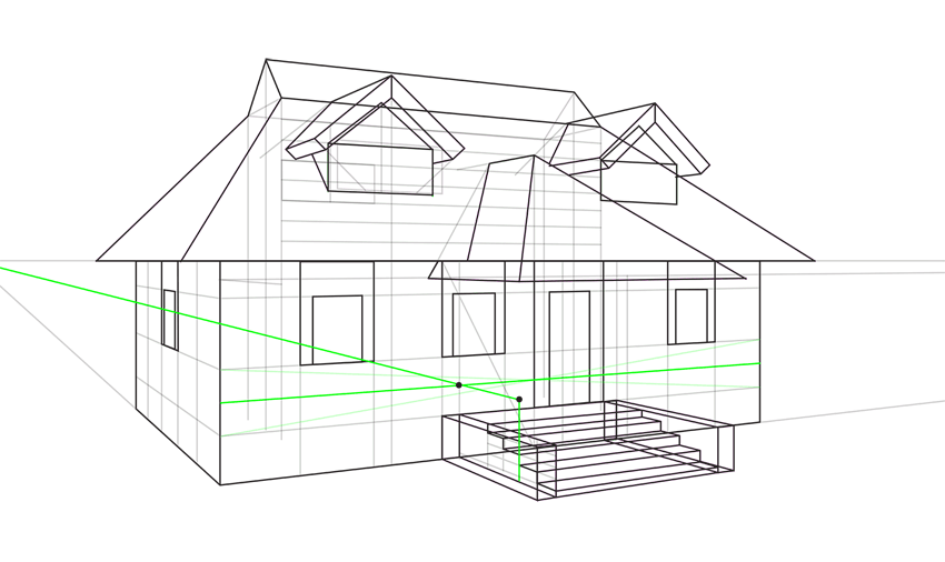 elevated porch wall perspective