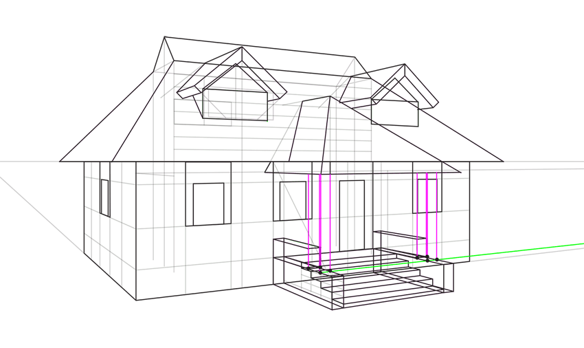 house pillars in perspective