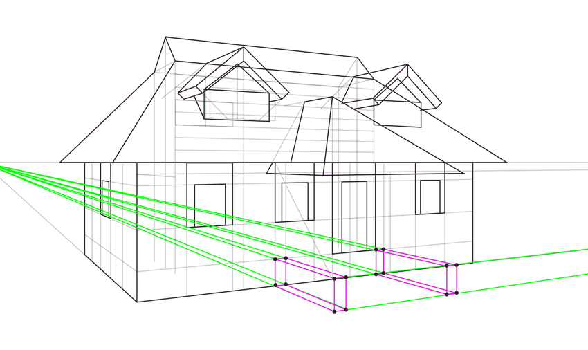 porch walls in perspective
