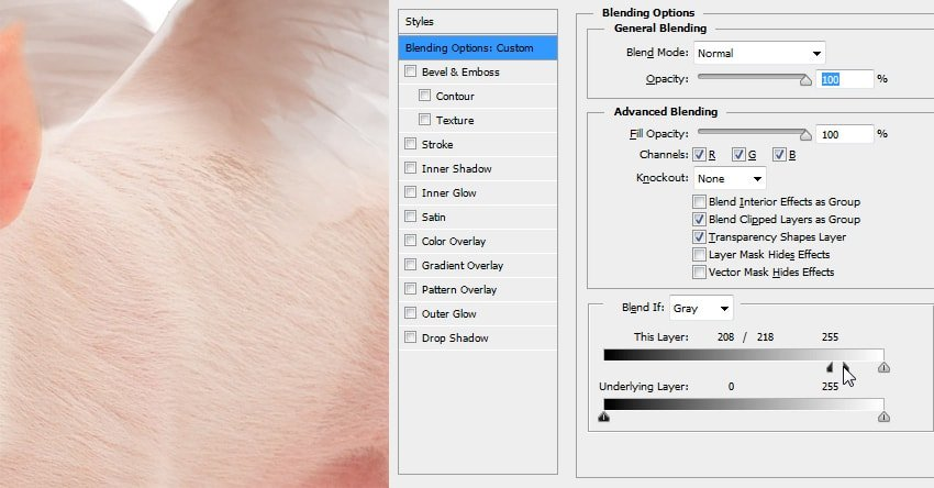 how to exclude dark parts of the layer