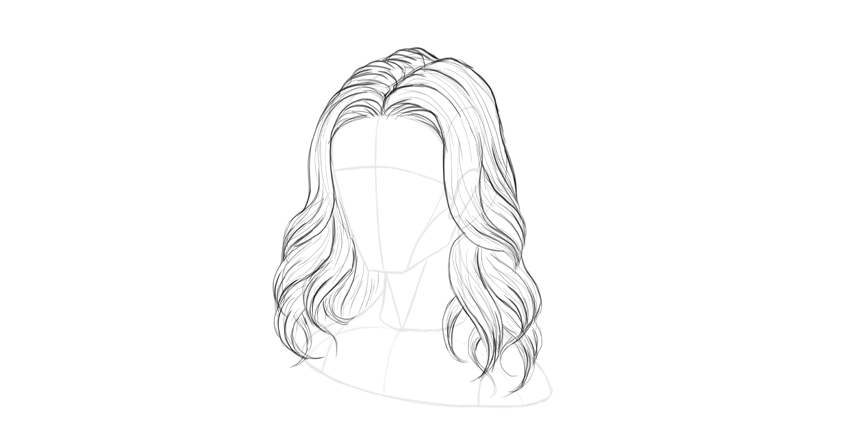 wavy hair outline