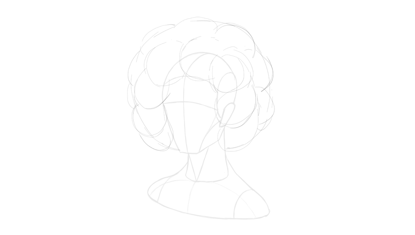 afro hair volume sketch