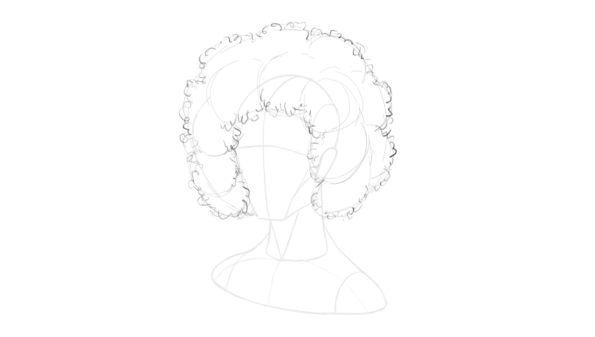 afro hair face outline