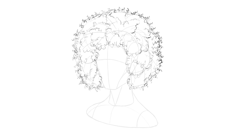 afro hair spring outline