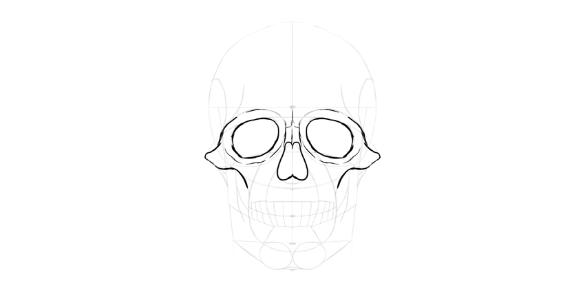 human skull eyes outline