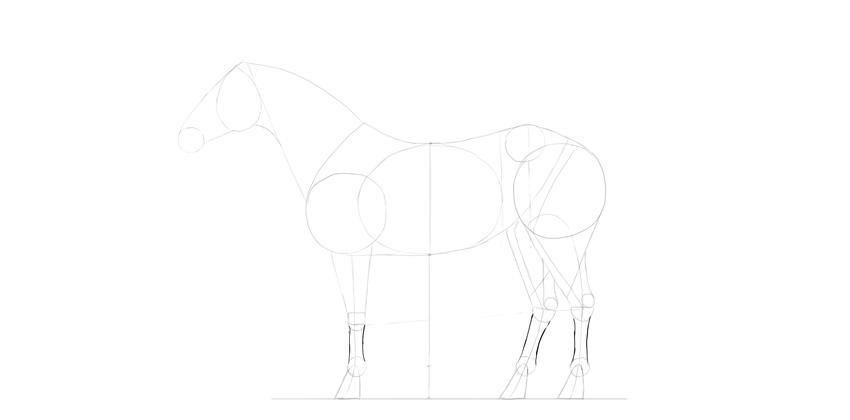 horse drawing hand feet