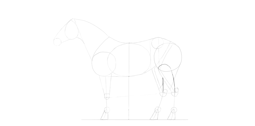 horse drawing calves detailed