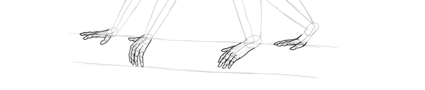 monkey drawing toes outlined